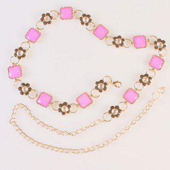 Chic Quadrate Faux Gem and Rhinestone Embellished Women's Alloy Waist Chain