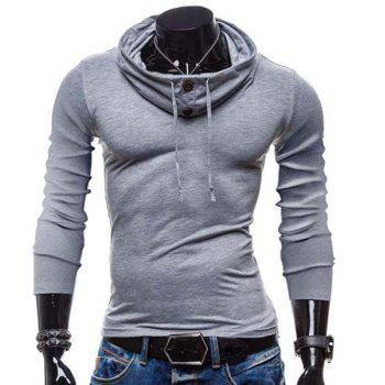 Slimming Piles Collar Modish Solid Color Button Design Long Sleeve Polyester Men's T-Shirt - LIGHT GRAY L