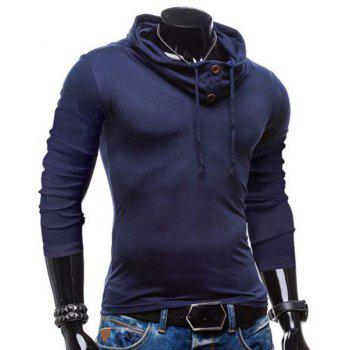 Slimming Piles Collar Modish Solid Color Button Design Long Sleeve Polyester Men's T-Shirt - L L