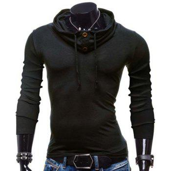 Slimming Piles Collar Modish Solid Color Button Design Long Sleeve Polyester Men's T-Shirt - BLACK 2XL