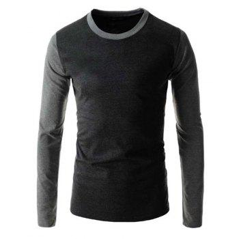 Slimming Round Neck Trendy Simple Color Block Splicing Long Sleeve Polyester Men's T-Shirt