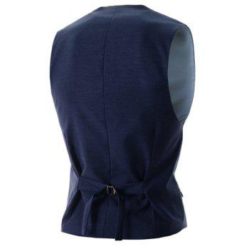 Slimming V-Neck Modish Solid Color Single Breasted Sleeveless Cotton Blend Men's Waistcoat - XL XL
