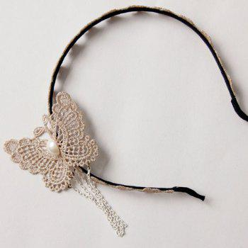 Sweet Cute Butterfly Faux Pearl Inlaid Hairband For Women -  LIGHT KHAKI