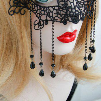 Sexy Hollow Out Lace Waterdrop Tassels Women's Mask - BLACK