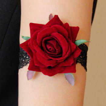 Retro Lolita Rose Flower Armlet For Women - RED WITH BLACK RED/BLACK