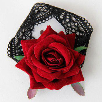 Retro Lolita Rose Flower Armlet For Women -  RED/BLACK