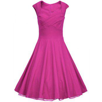 Retro Cap Sleeve Sweetheart Neck Solid Color Women's Dress - ROSE 2XL