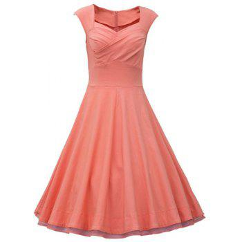 Retro Cap Sleeve Sweetheart Neck Solid Color Women's Dress