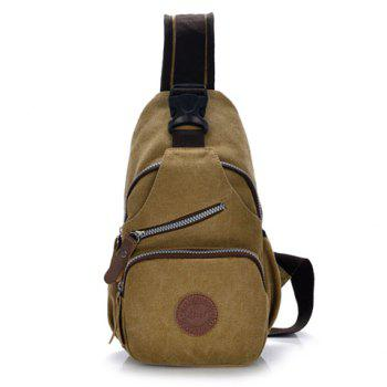 Buy Retro Splicing Rivets Design Chest Bag Men KHAKI