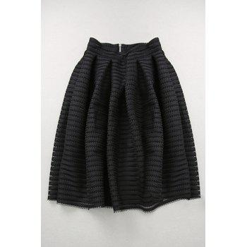 Stylish High Waisted Hollow Out A Line Women's Skirt - BLACK S