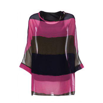 Colorful Stripe Print Loose Fit Chiffon Blouse + Vest Summer Twinset For Women - RED ONE SIZE
