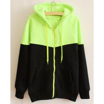Casual Color Block Hooded Long Sleeve Hoodie For Women - BLACK AND GREEN ONE SIZE(FIT SIZE XS TO M)