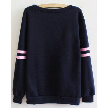 Active Letter Print Scoop Neck Flocking Long Sleeve Sweatshirt For Women - ONE SIZE(FIT SIZE XS TO M) ONE SIZE(FIT SIZE XS TO M)