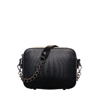 Elegant PU Leather and Weaving Design Women's Shoulder Bag