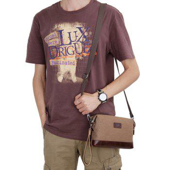 Stylish Zipper and Color Block Design Canvas Bag For Men - COFFEE