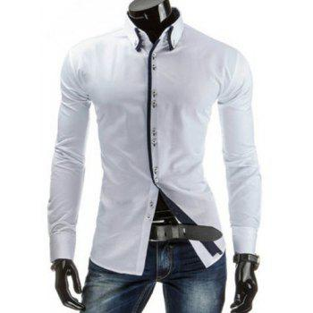 Slimming Shirt Collar Trendy Contrast Color Placket Long Sleeve Polyester Men's Button-Down Shirt
