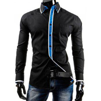 Slimming Shirt Collar Modish Color Block Stripe Placket Long Sleeve Polyester Men's Button-Down Shirt