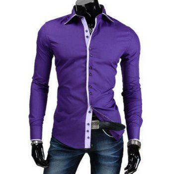 Slimming Shirt Collar Stylish Button Design Color Block Placket Long Sleeve Polyester Men's Shirt