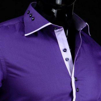 Slimming Shirt Collar Stylish Button Design Color Block Placket Long Sleeve Polyester Men's Shirt - PURPLE L