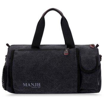 Casual Color Block and Letter Print Design Canvas Bag For Men - BLACK BLACK