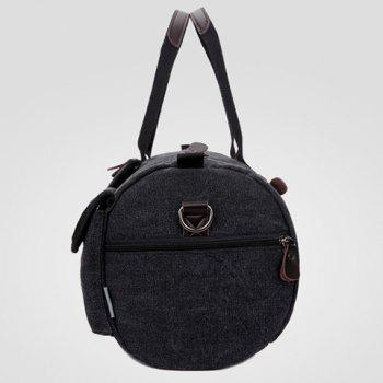 Casual Color Block and Letter Print Design Canvas Bag For Men -  BLACK