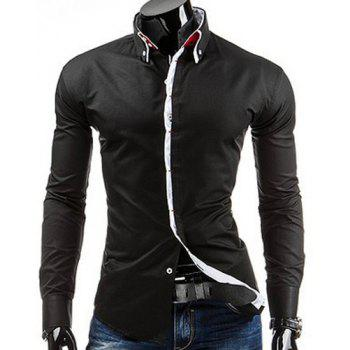 Slimming Shirt Collar Modish Contrast Color Sutures Design Long Sleeve Men's Button-Down Shirt