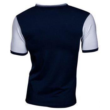 Slimming V-Neck Modish Color Splicing Drawstring Short Sleeve Polyester Men's T-Shirt - CADETBLUE M