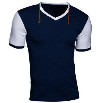 Slimming V-Neck Modish Color Splicing Drawstring Short Sleeve Polyester Men's T-Shirt