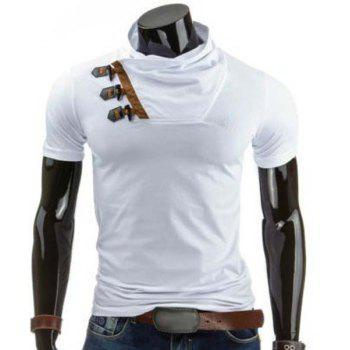 Slimming Cowl Neck Stylish Color Block Horn Button Short Sleeve Polyester Men's T-Shirt