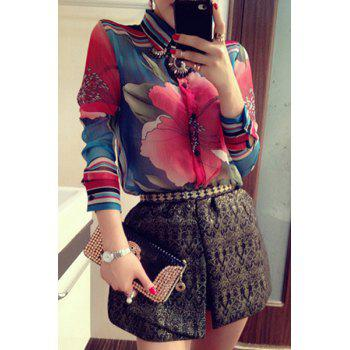 Stylish Shirt Collar Flower Pattern Long Sleeve Chiffon Blouse + Shorts Women's Twinset