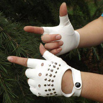 Pair of Stylish Button and Rivets Embellished Hollow Out PU Fingerless Gloves For Men