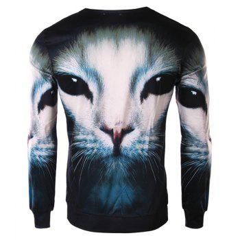 Slimming Round Neck Fashion 3D Cat Face Print Long Sleeve Polyester Men's T-Shirt - M M