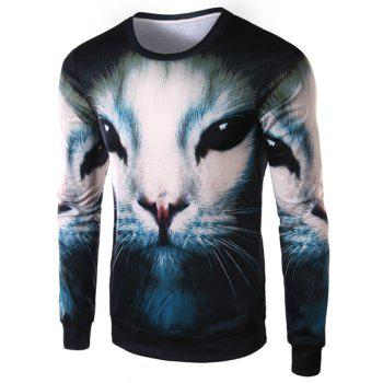 Slimming Round Neck Fashion 3D Cat Face Print Long Sleeve Polyester Men's T-Shirt