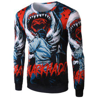 Slimming Round Neck Fashion 3D Shark Pattern Long Sleeve Polyester Men's T-Shirt