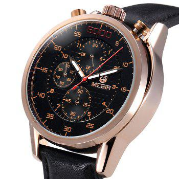 MEGIR 3005 Genuine Leather Strap Water Resistant Male Japan Quartz Watch with Luminous Analog Working Sub-dials