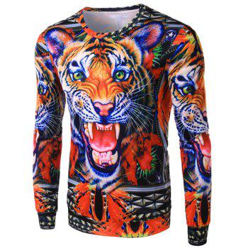 Slimming Round Neck Stylish 3D Tiger Head Pattern Long Sleeve Polyester Men's T-Shirt