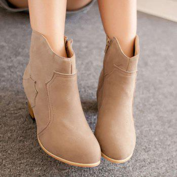 Simple Style Suede and Chunky Heel Design Ankle Boots For Women - KHAKI 38