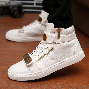 Punk Crocodile Print and Metal Design Casual Shoes For Men - WHITE WHITE