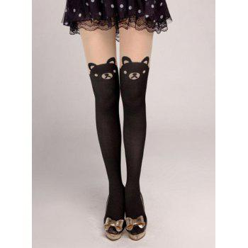 Pair of Sweet Bear Cat Pattern Stockings For Women