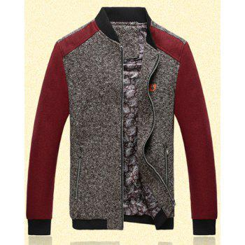 Fitted Stand Collar Trendy Labeling Color Block Fabric Splicing Long Sleeve Polyester Men's Jacket - RED RED