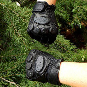 Pair of Stylish Bellying Embellished Faux Leather Fingerless Gloves For Men