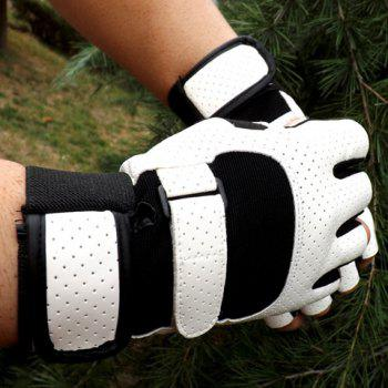 Pair of Stylish Breathable Faux Leather Outdoor Fingerless Gloves For Men