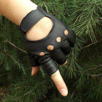 Pair of Stylish Solid Color Hollow Out Faux Leather Fingerless Gloves For Men