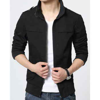 Slimming Stand Collar Stylish Epaulet Design Rib Splicing Long Sleeve Polyester Men's Jacket