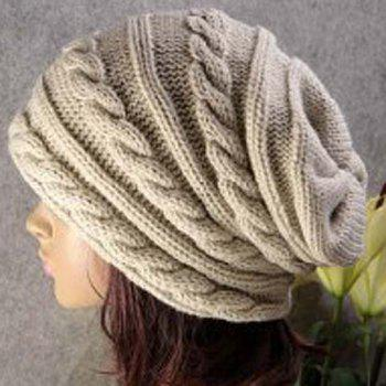 Stylish Solid Color Hemp Flower Embellished Knitted Beanie For Men and Women - OFF-WHITE OFF WHITE