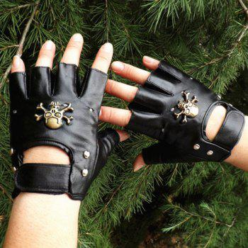 Pair of Stylish Skull and Stud Embellished Hollow Fingerless Gloves For Men