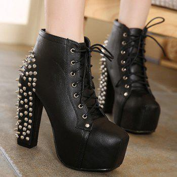 Punk Style Chunky Heel and Rivets Design Ankle Boots For Women - BLACK 40