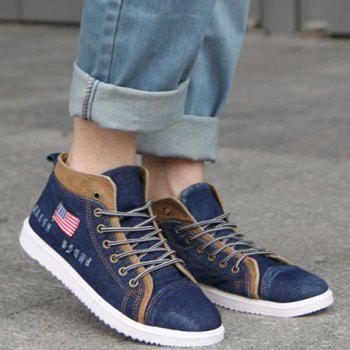 Retro Denim and Flag Design Casual Shoes For Men - DEEP BLUE DEEP BLUE