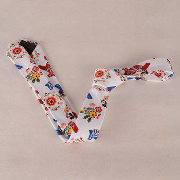 Stylish Flower Leaf Ethnic Pattern Colored Men's Tie - WHITE