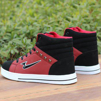 Stylish Rivets and High-Top Design Casual Shoes For Men - 43 43